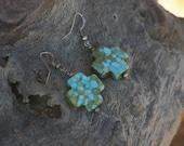 Turquoise Earrings,  Cross Earrings, Earrings, Western earrings, Southwestern Jewelry, Boho Jewelry, Boho Earrings, Green