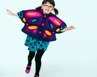 Girls Butterfly Cape Pre- Order// Brilliant Butterfly Capelet// Felt Butterfly Cape// Wool Winter Cape// Handmade Girls Clothing