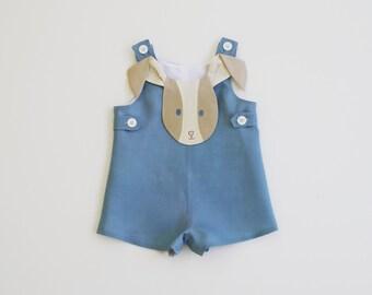 Boys Peter Rabbit Romper// Bunny John John //Blue Linen Romper //Handmade Boy's Outfit // Baby Shower Gift