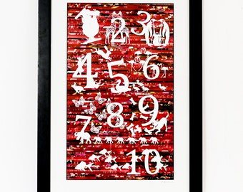 Counting Numbers and Animals - One of A Kind Kids Room Wall Art