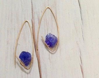 Tanzanite Earrings Tanzanite Endless Hoop Natural Tanzanite Raw Gemstone Jewelry