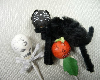 Vintage Spun Cotton Halloween Picks Cupcake Toppers Retro Orange Black Cat Decorations JOL Pumpkin Skull