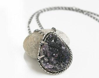 Amethyst Druzy Necklace Art Jewelry Unique Raw Specimen Organic Necklace