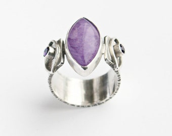 Cape Amethyst Marquis and Faceted Amethyst Gemstone Sterling Silver Ring Bold Statement Art Jewelry