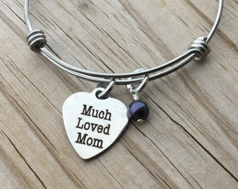 "Mother Charm Bracelet- ""Much Loved Mom"" laser etched charm with an accent bead in your choice of colors"