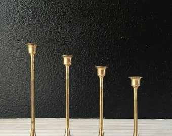 vintage solid brass tulip candle holder votives with candles // set of 4