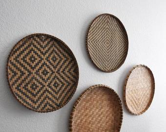 vintage set of 2 circle wall woven rattan basket / 2 sets available