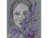Woman Purple Flower art drawing illustration original portrait figurative people