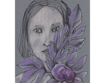 Woman Purple Flower art drawing original portrait figurative people