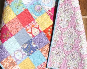 SALE LAST ONE Modern Baby Girl Quilt Patchwork Blanket Nursery Decor Crib Bedding Flowers Handmade Shabby Chic Sundara Oasis Pink Coral