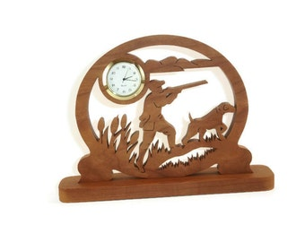 Duck Hunter And Hunting Dog Desk Clock Handmade From Cherry Wood By KevsKrafts