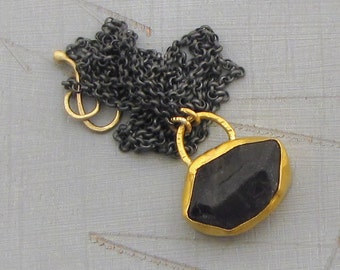 Rough Iolite Pendant, 24k Solid Gold & Raw Iolite Necklace, Ready to Ship
