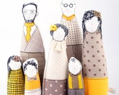 Family portrait  art doll -grandparents, parents ,kids in natural earth tones and yellow , stripes plaid & polka dots - timo handmade dolls