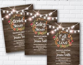 fall in love, rustic , Bridal Shower OR Baby Shower , Bridal, baby invitation,  Autumn  wedding newbaby Invitation - card 1010