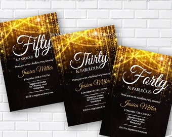 Elegant birthday invitation, glitter gold birthday forty and fabulous, 40th 50th Fifty and fabulous any age invitation - card 300