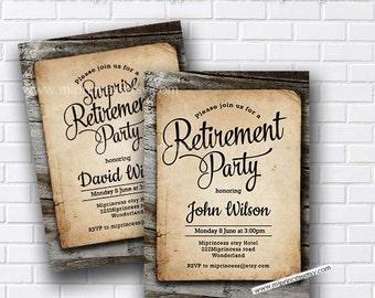 Retirement Invitations,  Retirement party Invitation,  Retirement Celebration  retro vintage Invite, chalkboard blackboard design- card 570