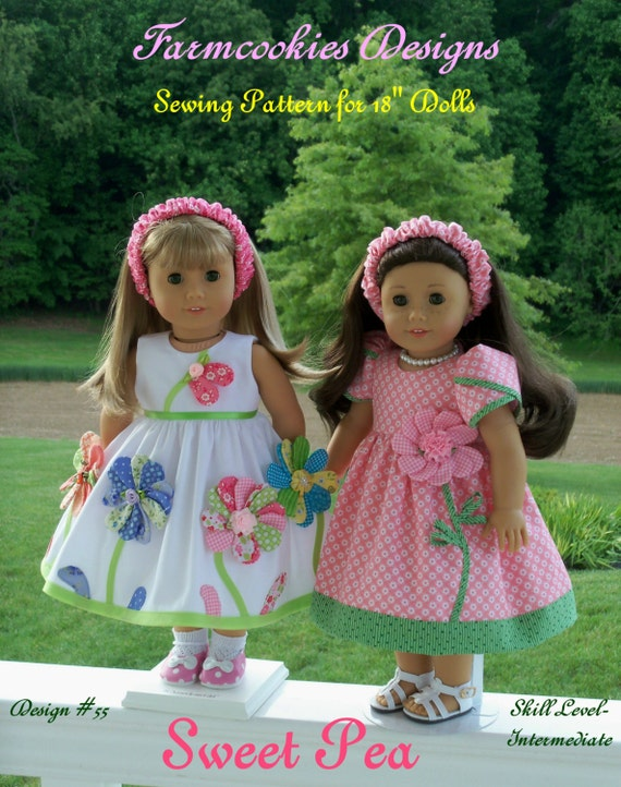 PRINTED Sewing Pattern / SWEET PEA /  Summer Dresses for American Girl Maryellen, Kit, Molly