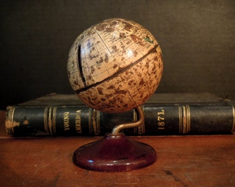 Antique Bank World Globe / Denoyer Geppert Globe / Miniature Globe / Antique Toy Bank / Wood Base / Cast Iron
