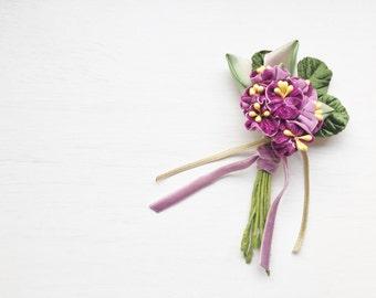 Violet Bouquet Vintage Inspired Handmade Brooch