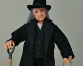 Bill the grave digger, hand sculpted miniature dollhouse doll in 1/12th, one inch scale, ooak