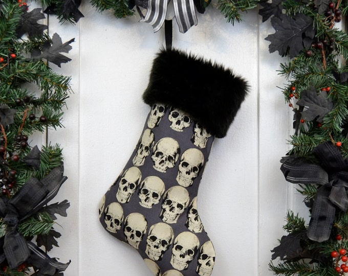 Goth Punk Christmas Stocking Realistic Anatomical Skull on Gray with Black Faux Fur
