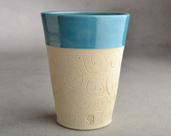 Carved Curls Tumbler Ready To Ship Blue and Beige Carved Stoneware Tumbler by Symmetrical Pottery