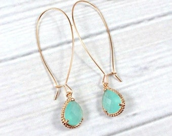 Rose Gold Earrings, Mint Earrings, Minimal Earrings, Long Earrings, Aquamarine earrings, Drop Earrings, Bridesmaid Earrings, Wedding jewelry