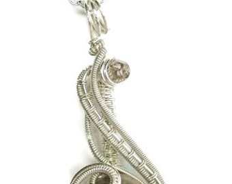 """Silver Leaf Jasper Wire-Wrapped """"Mini-Coriolis"""" Pendant in Sterling Silver with Swarovski Crystal; Woven Wire Necklace"""