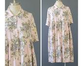 SALE - 90s Dress - Grunge Dress - Babydoll Dress - Pink Floral Dress - 1990s Dress - Oversize Short Sleeve Button Up Floral Print Dress S/M