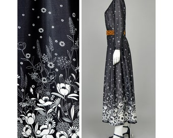 Vintage 70s Maxi Dress Black and White Floral Dress A Line Full Skirt Dress Border Print Bohemian Dress 1970s Dress Hippie Dress (M/L)