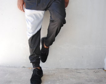 SALE Mens Black Denim Drop Crotch Harem Pants  / Denim Joggers / Mens Joggers / Mens Harem Pants / Three Pockets / Handmade by GAG THREADS