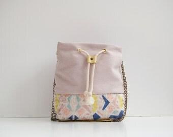 Bucket bag Handbag Little geometric pastel panel handmade beige and light banana yellow