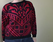 Vintage 80's Glam Sweater - Pink and Black Knitted Sweater - Shimmer Shiny Glitter Clothing