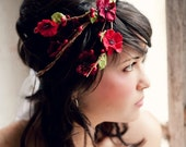 Flower Crown, Flower Adornment, Bridal Headpiece, Wedding headpiece, winter wedding, holiday crown, christmas crown, red