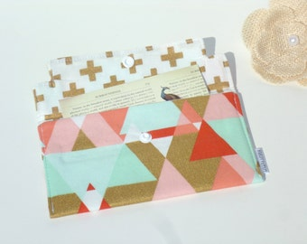 Coupon Holder / Cash Wallet / Receipt Holder - GeoTriangle and Swiss Cross in Mint, Coral, Gold