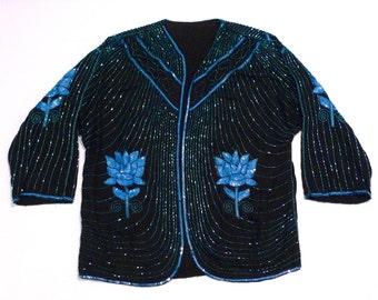 Beaded Jacket Vintage Black with Blue Flowers Embellished Cardigan 1980s Floral Deco Holiday Cocktail Formal Boho Small Medium