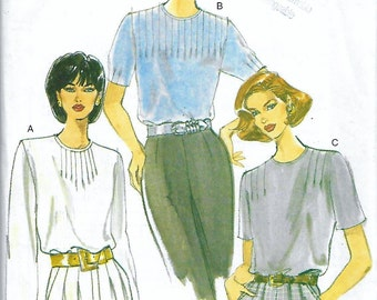 Vogue 9288 Women's 90s Front Tuck Blouse Sewing Pattern Bust 34 to 38