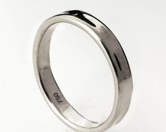 Simple Gold Wedding Band - 14k White Gold Ring , White Gold Wedding Ring , White Gold Wedding Band, men's wedding band, mens ring, 3