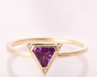 Art Deco Engagement Ring, Unique engagement ring, Statement ring, Amethyst Diamond Ring, Triangle ring, Halo ring, purple ring, r021