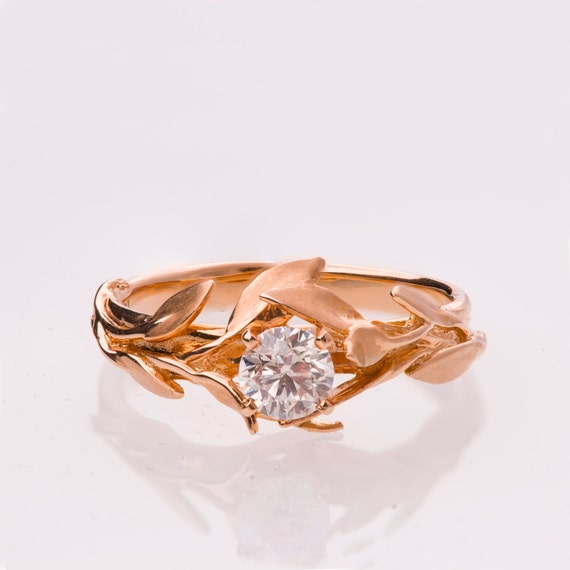 Leaves Engagement Ring 14k Rose Gold And Diamond Engagement