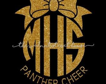 ORIGINAL DESIGN - Glitter monogram with bow on top, Mascot tee, cheer mom tshirt, cheerleader shirt, squad tees, team spirit shirt,