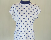 1980s Purple & White Polka Dot Shirt Top