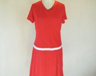 Cherry Red Drop Waist Mod Dress