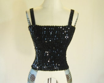 Black Glam Sequin Tube Top Tank Glitz