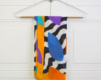 1980s Abstract Print Scarf