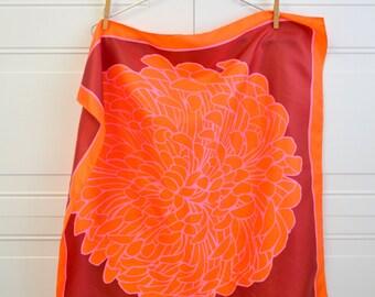 1980s Totes Orange Flower Scarf