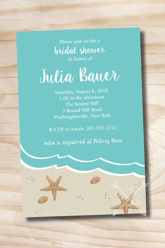 beach bridal shower invitation ocean sand by paperheartcompany, Bridal shower invitations