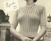 Refresher, a lace knitted jumper sweater 1940s - vintage knitting pattern PDF (481)