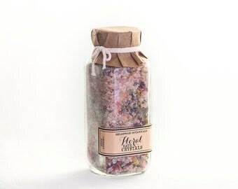 Floral Bath Crystals - Pink Himalayan Salt Soak - 8 oz