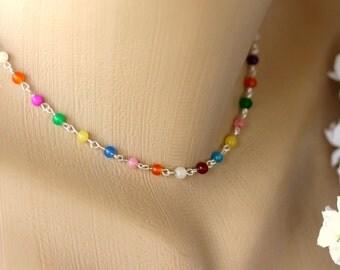 Rainbow Jade Necklace, Choker Necklace, Beaded Necklace, Minimalist Necklace, Strand Necklace, Gemstone Necklace, Bridal Jewelry, Valentine